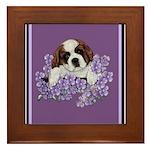 St. Bernard Puppy with flower Framed Tile