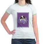 St. Bernard Puppy with flower Jr. Ringer T-Shirt