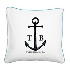 Tybee Island, GA Anchor II Square Canvas Pillow