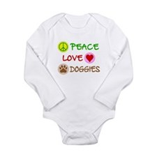 Peace-Love-Doggies Long Sleeve Infant Bodysuit