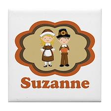 Personalized Pilgrim Kids Tile Coaster