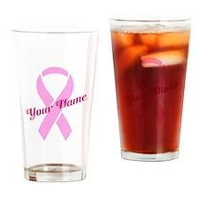 Custom Pink Ribbon Drinking Glass