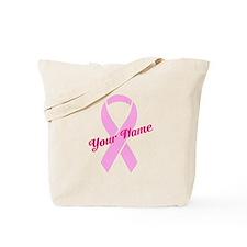 Custom Pink Ribbon Tote Bag