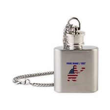 Custom American Flag Baseball Catcher Flask Neckla