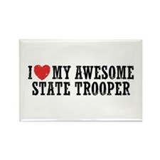 I Love My Awesome State Trooper Rectangle Magnet