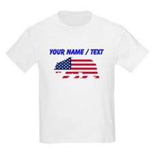 Custom American Flag California Bear T-Shirt