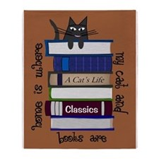 home is where cat and books are brown Throw Blanke