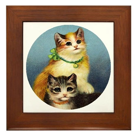 Cute Kittens Framed Tile