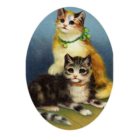 Cute Kittens Oval Ornament