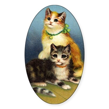 Cute Kittens Oval Sticker