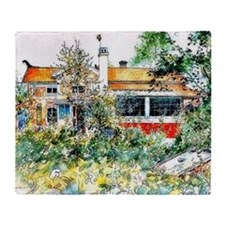 The Cottage, Carl Larsson painting Throw Blanket