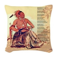Mile in His Moccasins Woven Throw Pillow