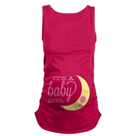 Vintage Its A Baby Girl Maternity Tank Top