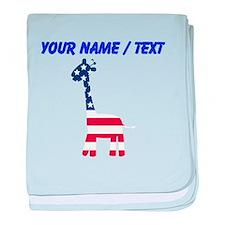 Custom American Flag Giraffe baby blanket