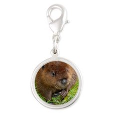 Sweet Baby Beaver Silver Round Charm