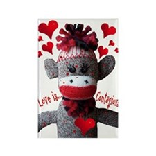 Love is Contagious Sock Monkey Valentine Rectangle