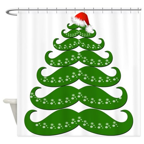 Mustache Christmas Tree Shower Curtain