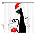 Modern Christmas Kitty Shower Curtain