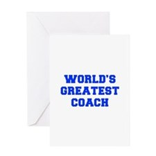 WORLDS-GREATEST-COACH-FRESH-BLUE Greeting Cards
