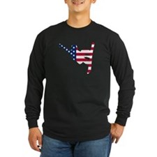 American Flag Snowboarder Long Sleeve T-Shirt