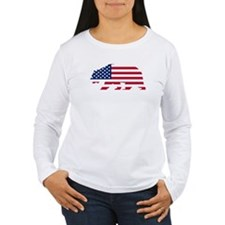 American Flag California Bear Long Sleeve T-Shirt