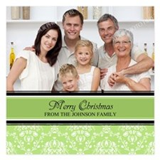 Green Damas Christmas Photo 5.25 x 5.25 Flat Cards