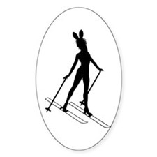 SKI BUNNY Oval Decal