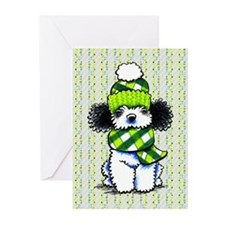 Parti Poodle Winter Dots Greeting Cards