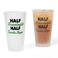 Half Iconologist Half Zombie Slayer Drinking Glass