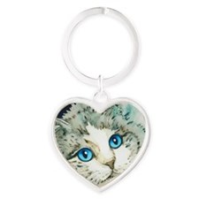 Ragdoll Cat Michelle by Lori Alexan Heart Keychain