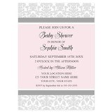 Pink and gray damask baby shower Invitations & Announcements