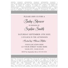 Pink Grey Damask Baby Shower Invites Invitations