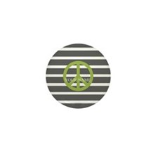 Peace Sign Charcoal Stripes Mini Button (10 pack)