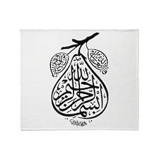 Arab Calligraphy Pear Throw Blanket