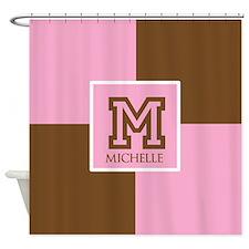 Brown and Pink Blocks Monogram Shower Curtain