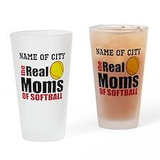 Personalize Softball Mom Drinking Glass