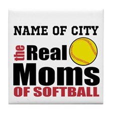 Personalize Softball Mom Tile Coaster
