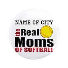 "Personalize Softball Mom 3.5"" Button"
