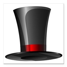 "Magician Top Hat   Square Car Magnet 3"" x 3"""