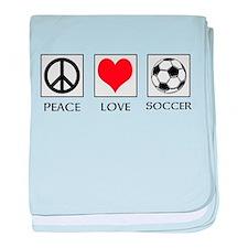 Peace Love Soccer baby blanket