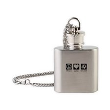 Peace Love Soccer Flask Necklace