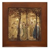 Golden Wood Princesses Framed Tile