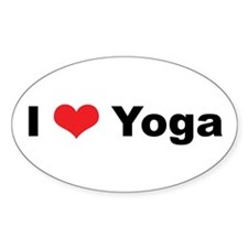 I Love (Heart) Yoga Oval Decal