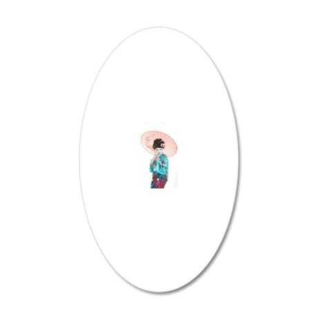 shy geisha 20x12 Oval Wall Decal