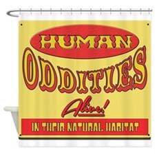 Human Oddities with faded background Shower Curtai