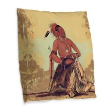 Double Walker, Omaha Burlap Throw Pillow