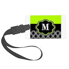 Lime Green Black Monogram Luggage Tag