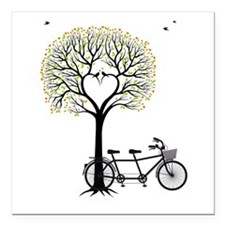 Heart tree with birds and tandem bicycle Square Ca