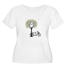 Heart tree with birds and tandem bicycle Plus Size