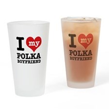 I love my polka Boyfriend Drinking Glass